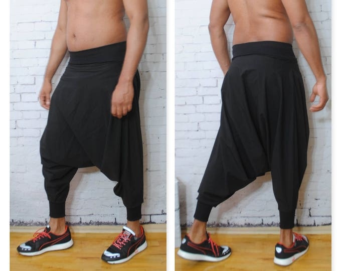 Nylon Stretch Woven Harem Pant with Stretch Waistband and Cuff Water Resistant yoga festival baggy oversized