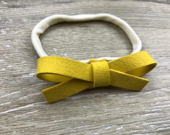 Yellow Thicker Suede Bow, Headband, Baby Headband
