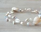 Seashell Crown Beach Wedding Headband SeaShells Tiara Nautical Wedding Headpiece Destination Wedding accessory mermaid costume seashell hair