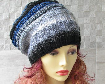 Hand Knit Hat - Slouchy Beanie - Beanie - Winter Hat  Colorful Hat Boho  Hat Chunky Knit Hat Winter Accessories Women Beanie Chunky Knit