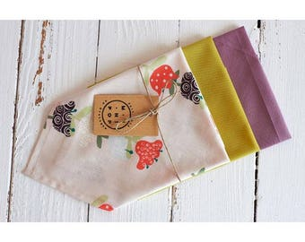 set of handkerchiefs in organic cotton, green olive, deep Orchid and flowers, zero waste, economical and eco-friendly, made in France