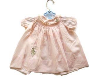 Vintage Baby Dress Smocked Dress Nanette Dress Pink Baby Dress Peter Pan Collar Mid Century Baby Girl Dress 12 Month Dress Little Girl Dress