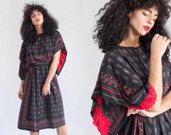 1970s Dress - Vintage 70s Black Silk Scarf Dress Floral - La Ceiba Dress