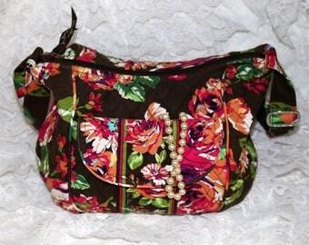 """Vera Bradley Handbag - """"Unknown Pattern"""" - Brown Orange - Zipper Closure - Retired Pattern"""