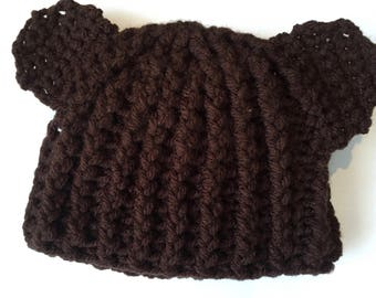 Brown baby hat, teddy bear hat, bear ears baby beanie