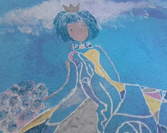 Kids table painting clouds Princess