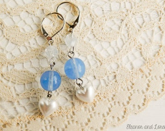 Shabby cottage chic earrings / shabby jewelry / upcycled earrings / vintage beaded earrings / shabby chic jewelry / upcycled vintage