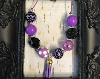 Purple and black Bubblegum chunky tassel necklace