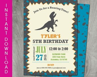Self Editable Dinosaur Birthday, 5x7 Invitation, Instant Download, T-Rex, Party Printable, Double Sided, Diy, Personalize, PDF File