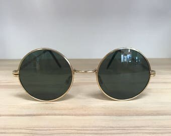 Round circle vintage sunglasses gold silver
