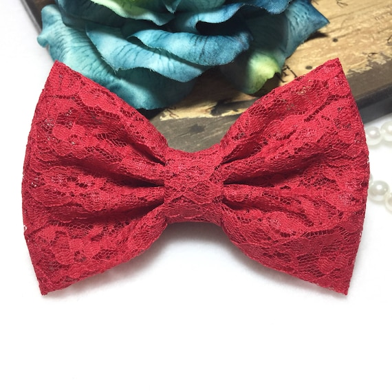 Red Lace Hair Bow/ Girls Hair bow/ Big Bow/ Retro Bow/ Prom- Wedding Dress Bow/ Kawaii Red Bow/ Girls Bows/ Baby Bows/ Handmade Red Lace Bow