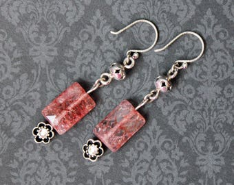 Quartz earrings, sterling silver, crystal quartz, cherry quartz, stone earrings, diamond cut, french hook, flower earrings, natural stone