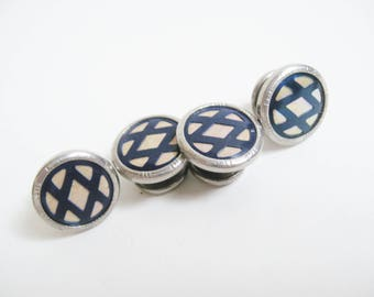 DECO Antique 1920s Silver Blue CELLULOID Mother of Pearl PLAID Lattice Snap Cuff Links Edwardian Downton Gatsby Cufflinks Fashion Jewelry