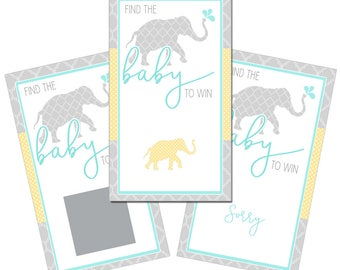 Set of 12 Scratch Off Game Cards with Tropical Nautical Ocean Elephants Coastal Scratchers in Gray, Yellow and Aqua Blue CSC051