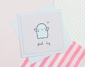 Cute Ghost Handmade Greeting Card Halloween Card Friend Card Ghost Gift Spooky Trick or Treat Get Well Soon Card