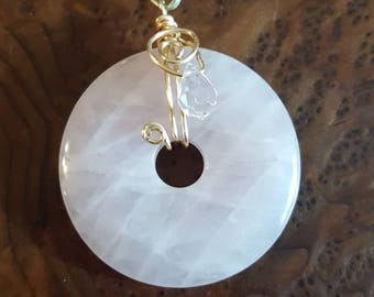 Rose Quarts Disc and Crystal Necklace