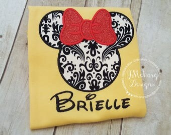 Girl Mouse Gorgeous Custom embroidered Disney Inspired Vacation Shirts for the Family! 743 damask