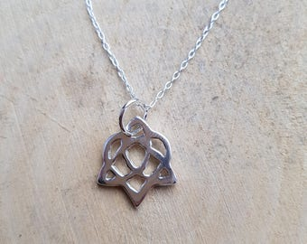 Love Knot Necklace Pendant Celtic Knot Love Heart Sterling Silver Love Knot Anniversary Gift