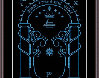 Lord of the Rings Doors of Durin / Gates of Moria / Elven Door  cross stitch pattern Instant Download PDF - Speak Friend and Enter .