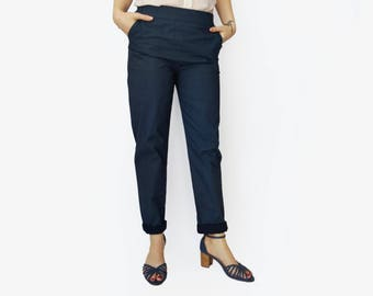 High waisted trousers, Blue pants, Blue elastic waist pants, Printed pants, Dark blue Trousers, Pockets, cotton pants, Comfortable pants