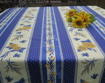 """Rectangular tablecloth .NEW! French Oilcloth from Provence. Water resistant Stain proof.78"""" long by 60"""" wide. Little lemons and lavender"""