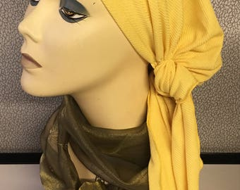 Sun Yellow Ribbed Jersey Knit Hair Wrap Slip On Headscarf