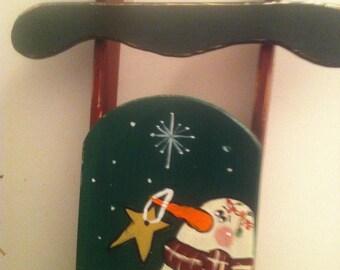Hanpainted snowman sled