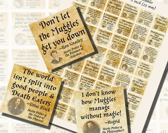 Harry Potter Quotes, ONE INCH SQUARES (25mm), with 1/2 inch (13mm) and 3/4 inch (20mm) squares included