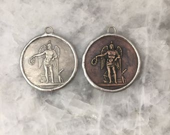 "St Michael Angel Coin 2+1/8"" Medallion, Silver or Copper, Pendant, Replica, Soldered, 2 Sided, Lead Free"