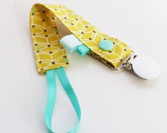 Pacifier clip-yellow, white and Mint green CUBES pattern fabric