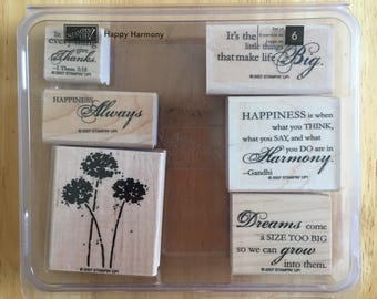 Stampin' Up Flower Dandelion Quotes Thank You Stamps 6 stamps in a box Craft Supply