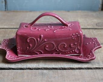 Butter Dish, Cranberry, handmade ceramic, lidded, Mothers Day gift, present, Made to Order