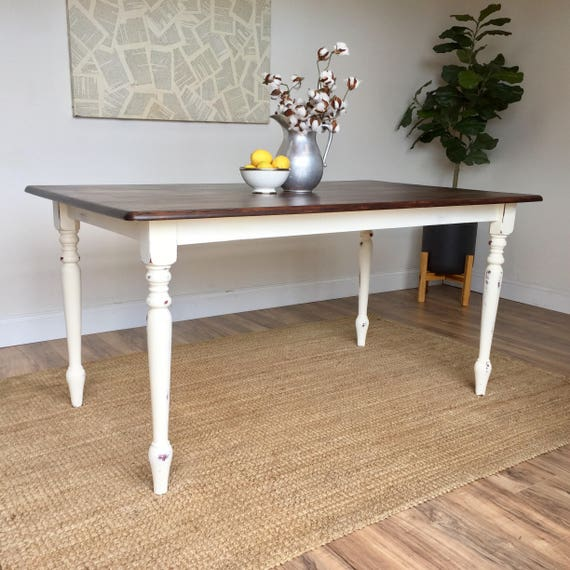Distressed kitchen table small white dining table country for Distressed white dining table