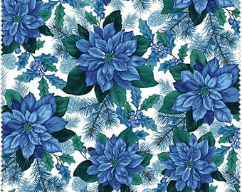 Christmas Fabric/Blue Poinsettias on White/Teal, Green/Cotton Material/Quilting, Clothing, Crafts/Fat Quarter, Half, By the Yard, Yardage