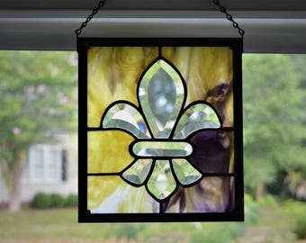 Purple and Gold Bevel Fleur de Lis Stained Glass Panel (LSU Colors)
