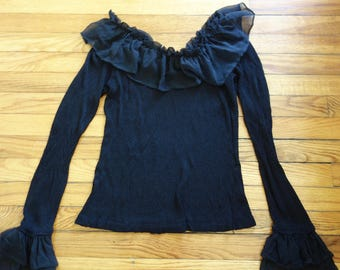 Vintage Knit Blouse Black Bell Sleeves Ruffle Trim Crochet 70s Boho Top