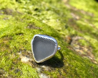 Grey sea glass heart ring adjustable