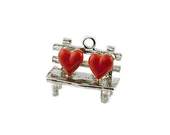 Sterling Silver Love Hearts On A Park Bench Charm For Bracelets