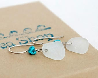 Frosted Clear Sea Glass and Turquoise Earrings - Natural Sea Glass, Genuine Sea Glass - Sea Glass Jewelry, Turquoise Jewelry