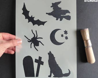 Halloween Decor, Halloween Stencil Set, Art Craft and Decorating Stencil, Painting, Various sizes, Reusable Mylar Stencils