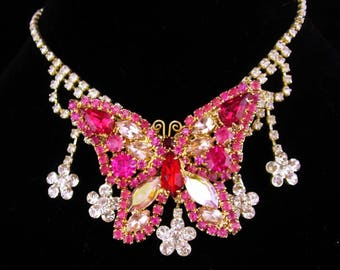 Vintage Butterfly brooch / rhinestone necklace / butterfly collar / rhinestone chandelier / statement necklace / gypsy necklace /