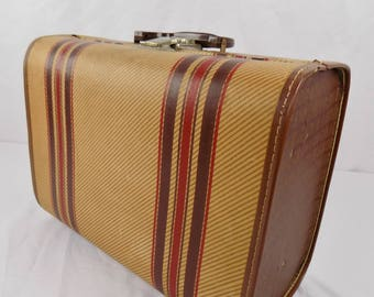Vintage Small Brown Striped Suitcase