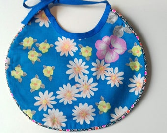 Bib with blue floral reversible cotton black lace with white polka dots 0/6 months