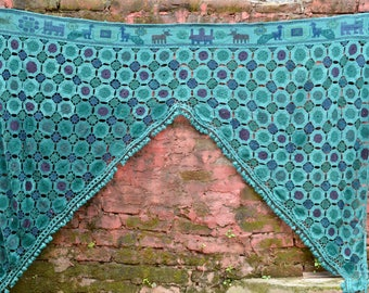 Rare blue crochet toran Indian curtain Large vintage temple door frame tribal textile hippie boho bedroom decor style glamping festival