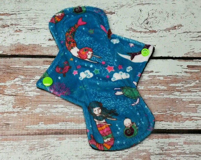 "Reusable Cloth Menstrual Minky Pad 7.75"" Light to Moderate Flow Mermaid Lullaby"