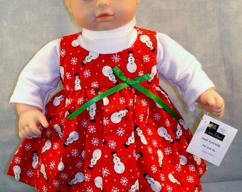 15 Inch Doll Clothes - Snowmen on Red Jumper Outfit handmade by Jane Ellen to fit 15 inch baby dolls