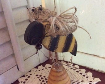 Primitive Stinger Bee with Jute Wings on Bee Skep Shelf Sitter, Hand Crafted and Painted