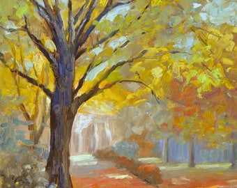 "large original oil painting landscape autumn fall trees impressionist canvas 20"" X 16"""