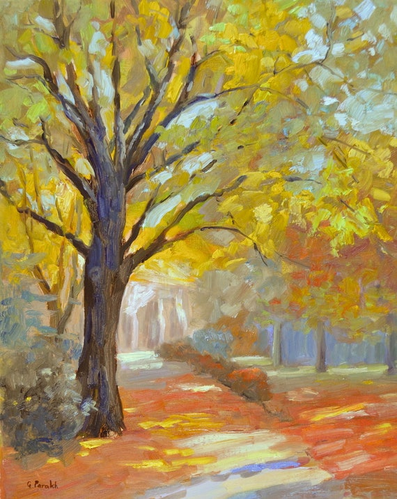 "Original Fall landscape oil painting| Autumn painting | Large impressionist | New England| Fall trees| orange yellow| canvas 20"" X 16"""