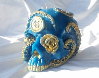 Teal Turquoise Skull Octopus candle, hand made